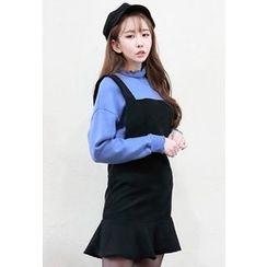 Dalkong - Ruffle-Hem Corduroy Jumper Mini Dress