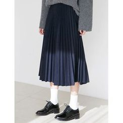 FROMBEGINNING - Band-Waist Midi Pleated Skirt
