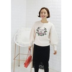 Lemite - Puff-Sleeve Embroidered Knit Top