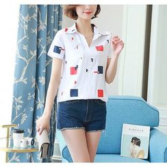 Dream Girl - Printed Short-Sleeve Chiffon Top