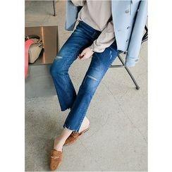 J-ANN - Distressed Boot-Cut Jeans