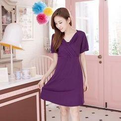 RingBear - Shirred V-Neck Dress