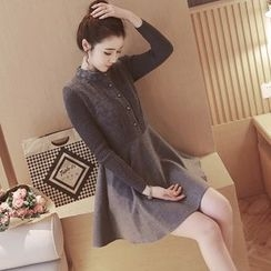 Munai - Long-Sleeve Knit Panel Dress
