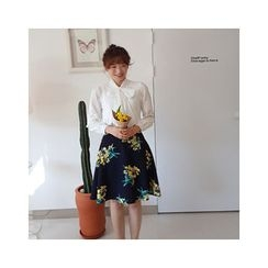 LEELIN - Floral Pattern Flare Skirt