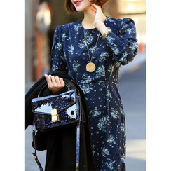 ssongbyssong - Ruffle-Hem Floral Print Dress