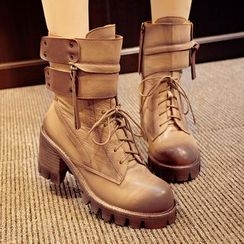 JY Shoes - Chunky Heel Lace Up Velcro Boots
