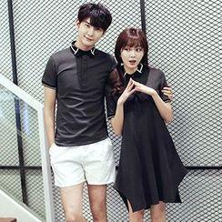 Azure - Couple Matching Contrast Trim Short Sleeve Polo T-Shirt / Short Sleeve Shirt Dress