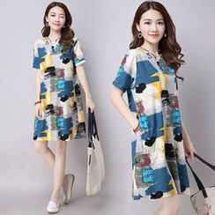 Diosa - Printed Split Neck Short Sleeve T-Shirt Dress