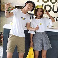 Azure - Couple Matching Smiley Face Short Sleeve T-Shirt / T-Shirt + A-Line Skirt