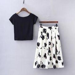 RainbowDay - Set: Short-Sleeve Cropped Top + Printed Pleated Midi Skirt