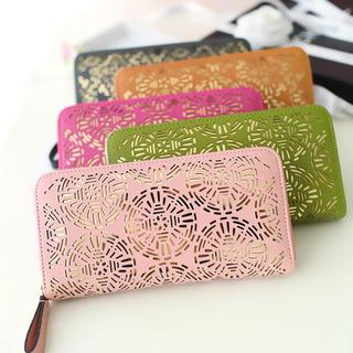 Youshine - Laser Cut Faux-Leather Long Wallet