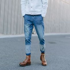 YIDESIMPLE - Washed Straight-Cut Jeans