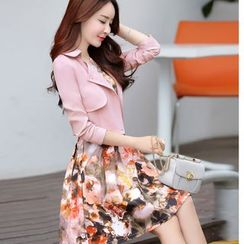Mariposa - 套装: 碎花无袖连衣裙 + 短款双襟外套