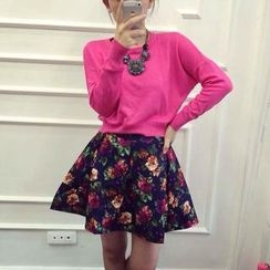 Ringnor - Set: Cropped Knit Top + Floral A-Line Skirt