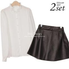 Ho Shop - Set: Frill-Collar Blouse + Faux-Leather A-Line Skirt