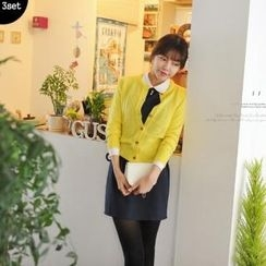 lovemark - Set: Crew-Neck Cardigan + Jumper Skirt + Chiffon Blouse
