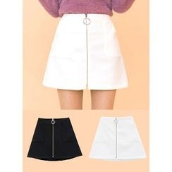 icecream12 - Zip-Front A-Line Mini Skirt