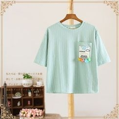 Vateddy - Pinstriped Short Sleeve T-Shirt with Tasseled Pocket