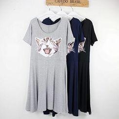 LaRos - Cat Printed Short-Sleeve T-shirt Dress