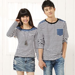 Igsoo - 情侶條紋長袖T恤