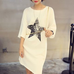 Au Naturel - Star 3/4-Sleeve T-shirt Dress
