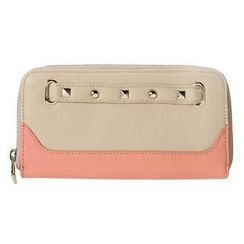ans - Studded Color-Block Zip Long Wallet