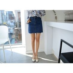 Envy Look - Fray-Hem Denim Mini Skirt
