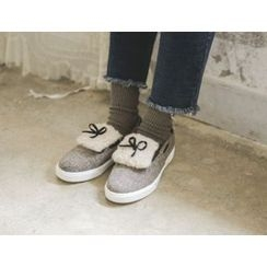 JUSTONE - Beribboned Fleece-Panel Plaid Deck Shoes