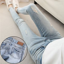 Nassyi - Distressed Washed Skinny Jeans