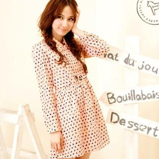 YUMI - Silk-Blend Tab-Sleeve Dotted Dress