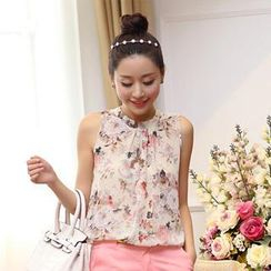 Sunny House - Sleeveless Floral Chiffon Top