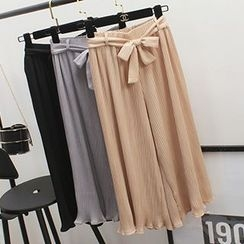 Honey House - Capri Wide Leg Chiffon Pants with Sash