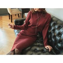 UUZONE - Mock-Neck Band-Waist Knit Long Dress