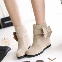 Pretty in Boots - Bow Accent Hidden Wedge Ankle Boots