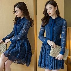 Romantica - Long-Sleeve Tie-Neck Lace Dress