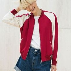 Neeya - Letter Embroidered Bomber Jacket