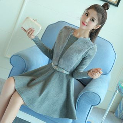 Hazie - Long-Sleeve A-line Knit Dress