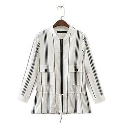 Neeya - Striped Drawstring Waist Zip Jacket