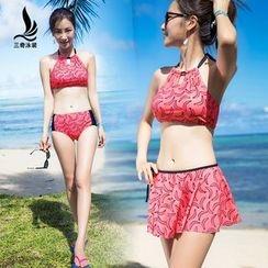 SANQI - 套裝: 圖案坦基尼泳衣 + 泳裙