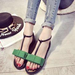 Wello - Bow T-Strap Sandals