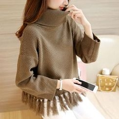 Cotton Candy - Mock Neck Fringe Sweater
