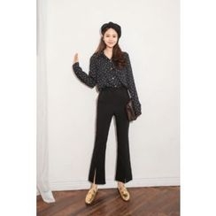 PPGIRL - Slit-Front Boot-Cut Pants