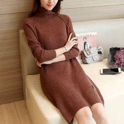 Cotton Candy - 長袖小高領針織連衣裙