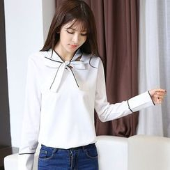 Mandalle - Tie-Neck Piped Chiffon Blouse