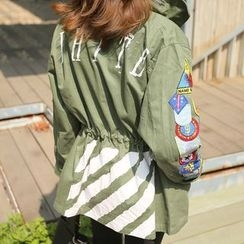PPGIRL - Appliqué Smocked-Waist Safari Jacket