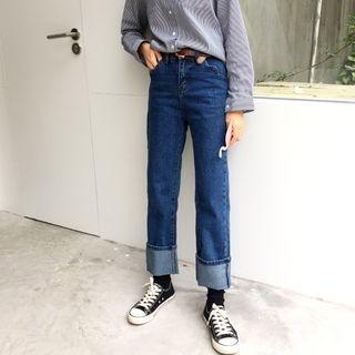 Windflower - Cuffed Straight-Leg Jeans