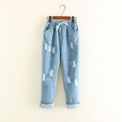 Mushi - Drawstring Waist Distressed Washed Jeans