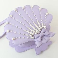 Kikolulu - Faux-Pearl Embellished Seashell Shaped Crossbody Bag