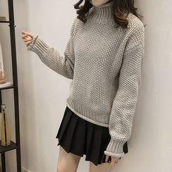 Little V - Turtleneck Waffle Knit Sweater