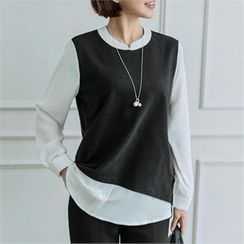 JOAMOM - Color-Block Key-Hole Back Top